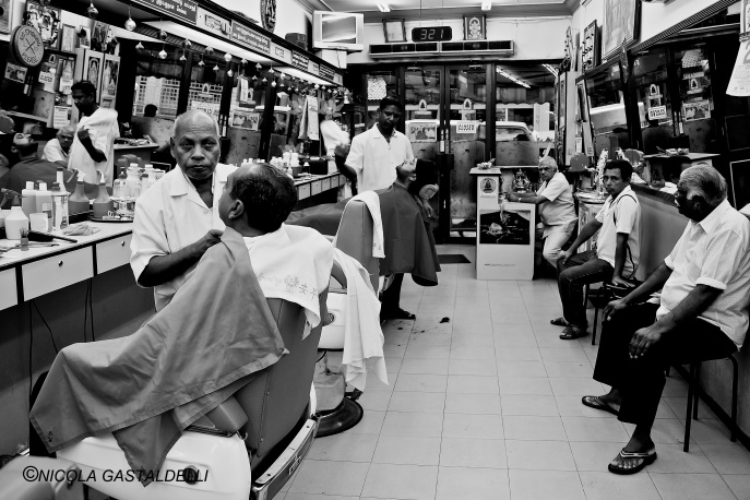 Singapore. Little India Barber Shop.